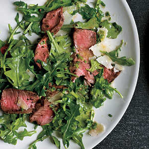 Grilled Steak with Baby Arugula and Parmesan SaladRecipe