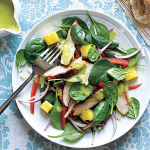 Grilled Chicken and Spinach Salad with Spicy Pineapple DressingRecipe