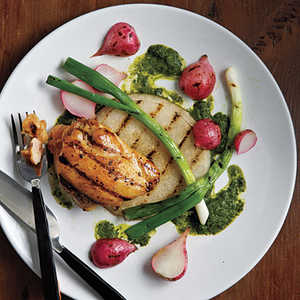 """Grilled Jicama, Radishes, Scallions, and Chicken with Asian-Style """"Chimichurri""""Recipe"""