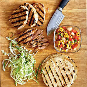 Grilled Pork Tacos with Summer Corn and Nectarine SalsaRecipe