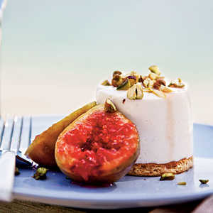 Sheep's-Milk Yogurt Cheesecakes with Grilled Figs and PistachiosRecipe