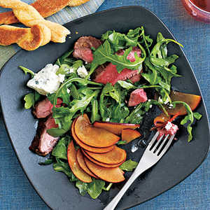 <p>Flank Steak Salad with Plums and Blue Cheese</p>