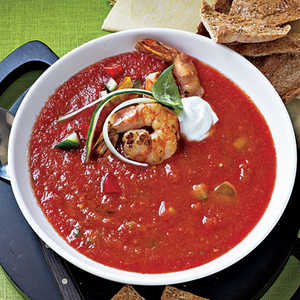 <p>Chunky Gazpacho with Sautéed Shrimp</p>