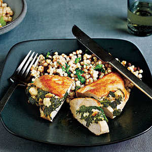 <p>Chicken Stuffed with Spinach, Feta, and Pine Nuts</p>