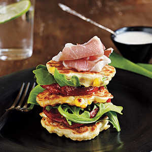 Corn Fritters with Roasted Tomatoes and Lime AioliRecipe