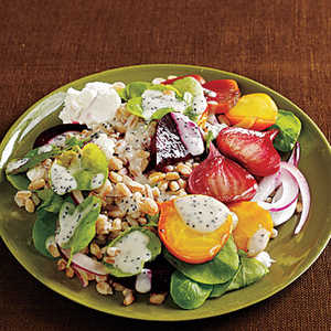 Farro Salad with Roasted Beets, Watercress, and Poppy Seed DressingRecipe