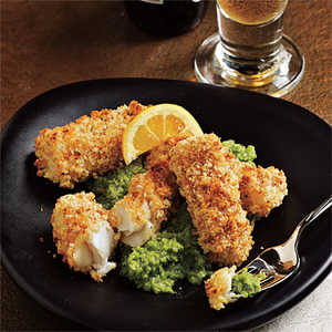 Chunky Fish Fingers with Pea and Mint PureeRecipe