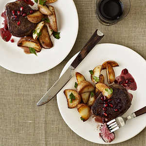 <p>Beef Filets with Pomegranate-Pinot Sauce</p>