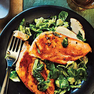 Maple-Glazed Chicken with Apple-Brussels Sprout Slaw Recipe