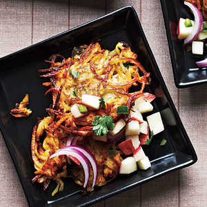 Curried Butternut Squash and Potato Latkes with Apple SalsaRecipe