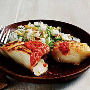 Sauteed Halibut with Romesco SauceRecipe