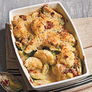 Crispy Topped Brussels Sprouts and Cauliflower GratinRecipe