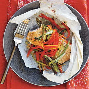 Arctic Char and Vegetables in Parchment HeartsRecipe