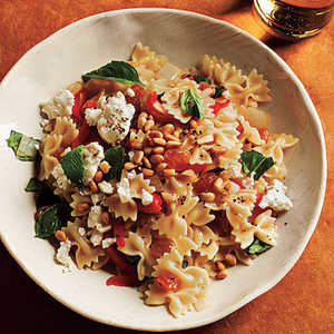 Mini Farfalle with Roasted Peppers, Onions, Feta, and MintRecipe