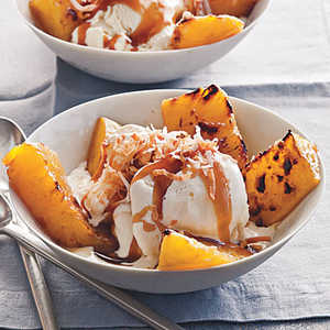 Broiled Pineapple with Bourbon Caramel over Vanilla Ice CreamRecipe
