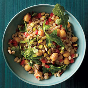 Mediterranean Barley with Chickpeas and Arugula Recipe