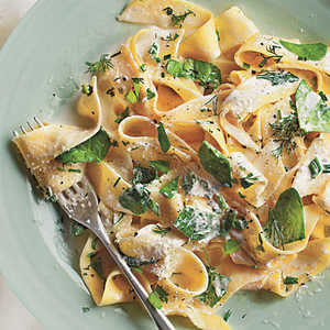 Pappardelle with Baby Spinach, Herbs, and RicottaRecipe