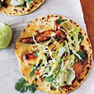 Ancho Chicken Tacos with Cilantro Slaw and Avocado CreamRecipe