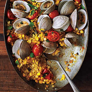 Paella with Poblanos, Corn, and ClamsRecipe