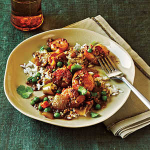 <p>Bombay Shrimp Curry with Coconut Rice</p>