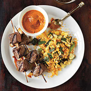 Sirloin Skewers with Grilled Vegetable Couscous and Fiery Pepper SauceRecipe
