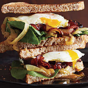 Bacon and Egg Sandwiches with Caramelized Onions and ArugulaRecipe
