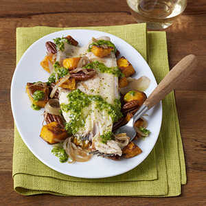 Grilled Trout with Roasted Butternut Squash, Pecans and Celery Leaf PestoRecipe