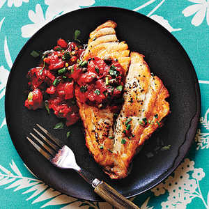 Pan-Roasted Fish with Mediterranean Tomato Sauce Recipe