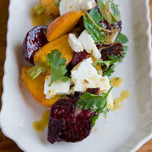 Roasted Carrot and Beet Salad with Feta, Pulled Parsley, and Cumin VinaigretteRecipe