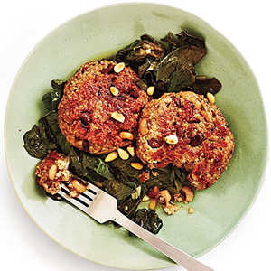 Black-Eyed Pea Cakes and Beer-Braised Turnip GreensRecipe