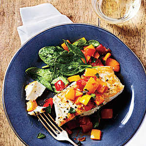 Pan-Seared Halibut with Bell Pepper RelishRecipe