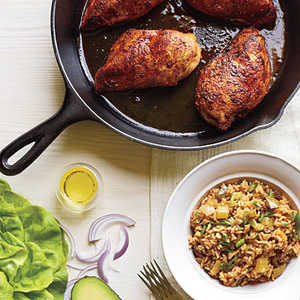 <p>Blackened Chicken with Dirty Rice</p>