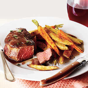 Beef Filets with Red Wine Sauce and Roasted Veggie FriesRecipe