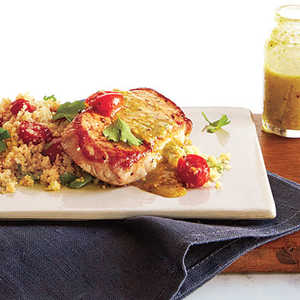 Pork over Couscous with Pistachio-Lemon VinaigretteRecipe