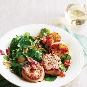 Seared Scallops with Wilted Watercress and BaconRecipe