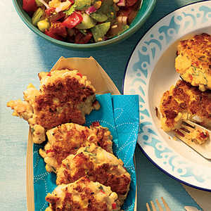 Shrimp and Corn Cakes with Heirloom Tomato SalsaRecipe