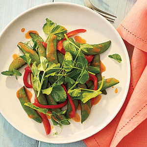 Snap Pea and Pea Shoot Stir-Fry with Gingery Orange SauceRecipe