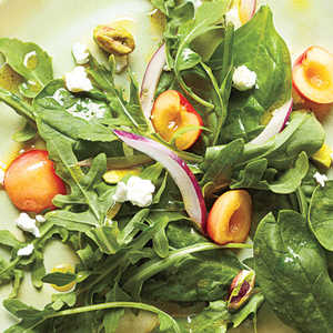 Salad with Cherries, Goat Cheese, and PistachiosRecipe
