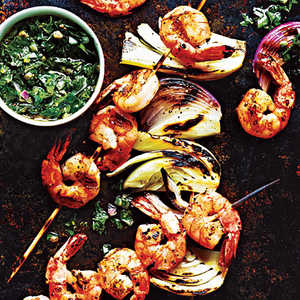 Shrimp and Fennel Kebabs with Italian Salsa VerdeRecipe