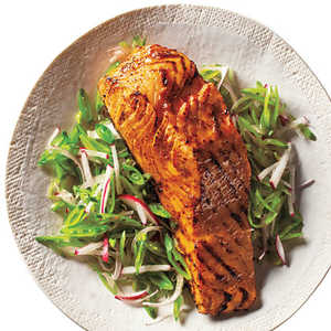 Barbecue Salmon and Snap Pea SlawRecipe