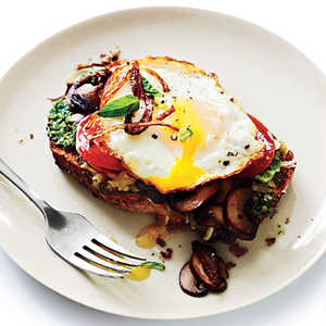 Open-Faced Sandwiches with Mushrooms and Fried EggsRecipe