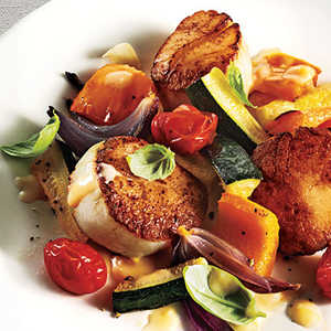 Seared Scallops with Summer Vegetables and Beurre BlancRecipe