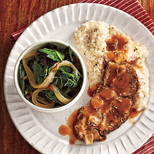 Braised Pork with Slow-Cooked Collards, Grits, and Tomato GravyRecipe