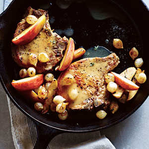 <p>Pork Chops with Roasted Apples and Onions</p>