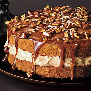 Pecan Cake with Caramel Mousse and Brown Sugar ToppingRecipe