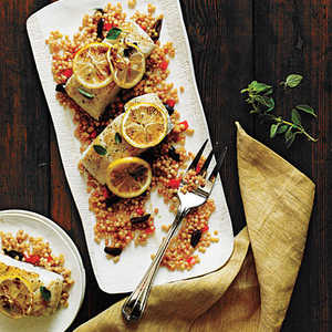 <p>Halibut with Olive and Bell Pepper Couscous</p>