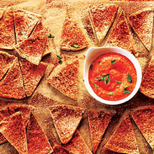 Homemade Pita Chips with Red Pepper Dip Recipe