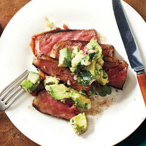 Spice-Rubbed New York Strip with Avocado-Lime SalsaRecipe