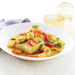 Halibut and Shrimp with Minted Broth Recipe