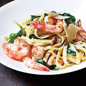 Shrimp Fettuccine with Spinach and Parmesan Recipe